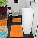 proheim Badematte 2-teiliges Set 50 x 80 und 45 x 50 cm rutschfester Badvorleger Premium Badteppich 1200 g/m² weich & kuschelig Hochflor Duschvorleger, Farbe:Orange - 6