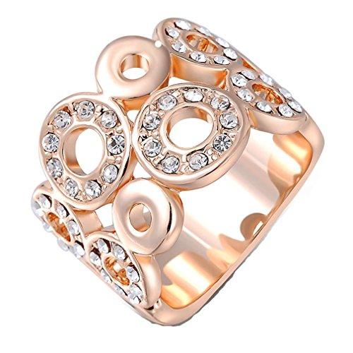 GYJUN Österreichischen Kristalle rosa/weiß Gold plattiert Chinesisch Kupfer glücklich Kreis Fingerring , 6