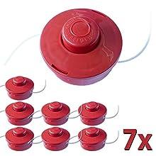 Nemaxx 7X FS2 Bobine avec Jog Automatique Double Cordon de tête Coupe de Tonte Accessoires Fil Nylon Rouleau Bobine de Rechange pour débroussailleuse - Rouge