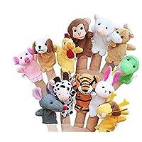 Liroyal 12Pcs Finger Puppets Koly Zoo Zodiac Soft Small Animal Puppets Finger Plush Toys