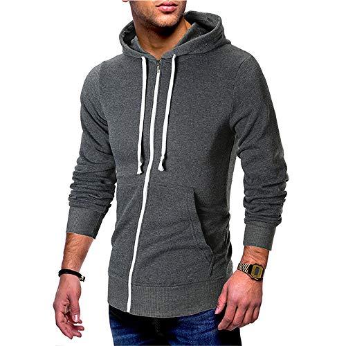 Discount boutique felpa da uomo con cerniera con cappuccio, tinta unita, manica lunga casual, giacca sportiva di grandi dimensioni con cappuccio