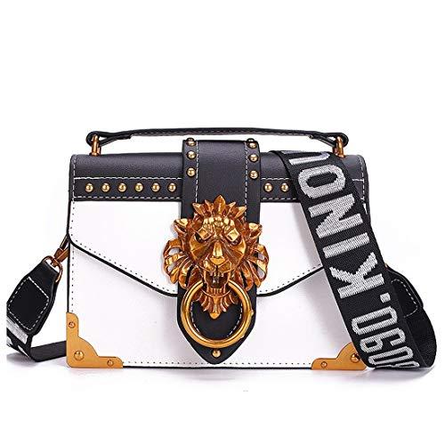 Fashion Metal Head Mini Small Square Pack Shoulder Crossbody Package Clutch Frauen Designer Wallet Handtaschen,White -