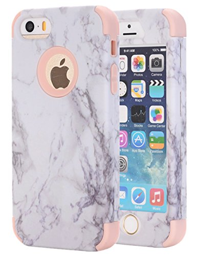 iPhone 5S Fall, iPhone 5 Fall, iPhone SE Fall, Kamii weiß Marmor Stein Muster stoßfest 2 in1 Dual Layer TPU Hardcase Bumper PC Hybrid Defender Armor Schutzhülle für Apple iPhone 5 5S SE, Rose Gold (Protector Screen 5s Pink)