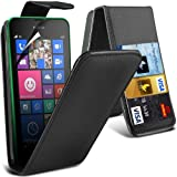ONX3 ® Nokia Lumia 630/635 PREMIUM PU-3-Karten-Slots Leder Flip Case Hülle + LCD-Schirm-Schutz-Schutz (Schwarz)
