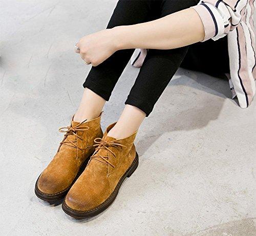 stivali Aumento delle donne in primavera e autunno pizzo signora scarpe per aiutare tacco basso stivali alti stivali nudi fondo pesante Khaki