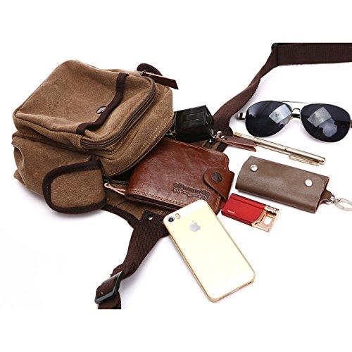 MeCooler Hüfttaschen Herren Tasche Outdoor Reisetaschen Gürteltasche Sporttasche Bauchtasche Trinkgürtel Canvas Sport Bag Vintage Brusttasche Handtasche Geldbeutel Braun