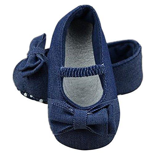 AYLONGPLUS Sommer Baby-Mädchen Schleife Prewalker Anti-Rutsch Babyschuhe Blau
