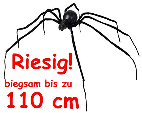 Riesige * Schwarze Witwe * als Deko für Halloween oder eine gruselige Motto-Party // sieht richtig lebensecht aus! // XXL Spinne Spider Grusel Dekoration Decoration Party (Sieht Halloween Make-up)