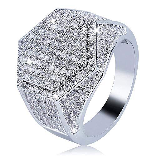 eyenjoy Stilvolle Hip Hop Ring Bling Punky Ring für Männer Herren große Iced Out Wide Pave Cz Band Ring Pinky Ring