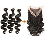 Daimer Closure 360 Lace Frontal avec 3 Tissage Bresilien frisé en lot Body Wave Bouclé Cheveux Humains en lot pas cher 16 18 20 +14 inches