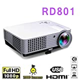 KAIDILA Projektor, RD801 LED Projektor 2000Lumens Android Wifi 3D Kino Heimkino Beamer Projektor TV LCD Video Game HDMI-VGA