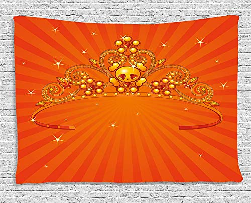 , Fancy Halloween Princess Crown with Little Skull Daisies on Radial Orange Backdrop Stars, Wall Hanging for Bedroom Living Room Dorm, 80 W X 60 L Inches, Orange ()