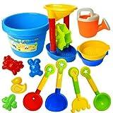 EQLEF® Toy Beach Summer Fun Kid 13 pezzi per bambini / Sandbox strumento di giochi per bambini, Viene fornito con benna, Utensileria, forme di sabbia, colore casuale