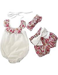 El bebé Recién Nacido Ropa de la blusa+ Pantalon corto+Banda para la cabeza,AZX,Ropa para Niñas en Verano