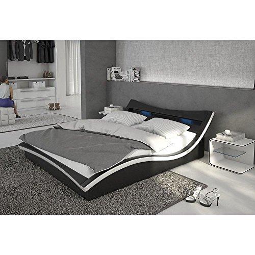 Polster-Bett 140x200 cm schwarz-weiß aus Kunstleder mit LED-Beleuchtung | Magari | Das Kunst-Leder-Bett ist ein Designer-Bett | Doppel-Betten 140 cm x 200 cm mit Lattenrost in Leder-Optik, Made in EU