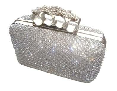 Dazzling Silver Diamante Flower Knuckle Evening Bag Clutch Purse Party Bridal Prom Eid Amazon ...