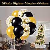 MMTX Luftballons Schwarz Gold Ballons 45 Stück Silvester Luftballons, Ballons Gold mit Gold Konfetti Luftballon für Damen Herren Geburtstag Deko, Deko Silvester 2019, Abschluss Halloween Party - 3