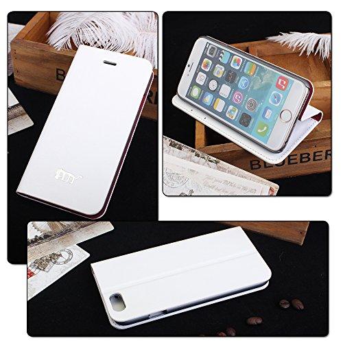 Pdncase iPhone 6 Leder Tasche Case Hülle Wallet Style Phone Cover Schutzhülle für iPhone 6 Farbe Rose Weiß