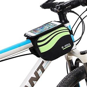 Bolsa bicicleta frontal 2-lados alforja delantera bolsa de manillar de 5.8 Pulgadas Móvil PVC Transparente Impermeable Bolso Para MTB bicicletas de montaña (Verde)