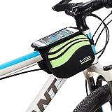 Bicicletta borse Impermeabile della cassa mobile tubo in PVC trasparente dello schermo del manubrio della bicicletta di telefono 5,5 pollici (Verdi 1)