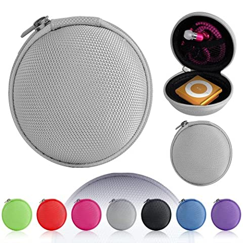Magic Global Gadgets® Light Grey Storage Bag Universal Carrying Clamshell Pouch Case Cover For MP3, Earphones, Headphones, iPod Shuffle, iPod Nano 6, Apple Watch Sport , Memory Cards, Gym Use