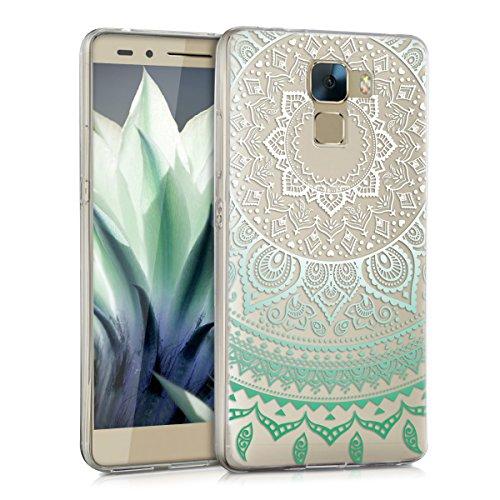 kwmobile Huawei Honor 7 / Honor 7 Premium Hülle - Handyhülle für Huawei Honor 7 / Honor 7 Premium - Handy Case in Mintgrün Weiß Transparent