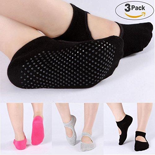 Yoga Barre Socken rutschfeste Skid für Barre Pilates Ballett 3Paar Baumwolle Socken eine Größe 5–10