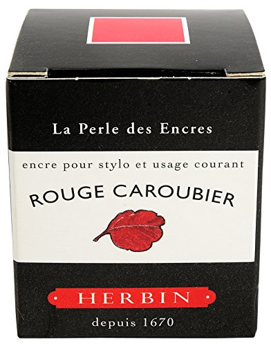 J. Herbin Fountain Pen Ink comes in a 30ml glass bottle and features a vibrant red color - Rouge Caroubier that is lightfast and water based made. Use this quick drying, smoothly flowing ink in your favorite fountain, rollerball or glass pen. Handcra...