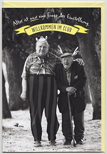 Geburtstagskarte witzig Willkommen im Club s/w