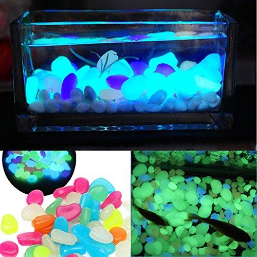 100Pcs Glow in the Dark Pebbles Stones Luminous Outdoor Garden Aquarium Decor UK
