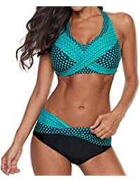 Bikinis Mujer 2020 Push up Sexy de Lunares de Playa Conjunto de Traje de BañO Estampado Bohemio BañAdores con Relleno Sujetador Tops y Braguitas Ropa de Playa vikinis riou