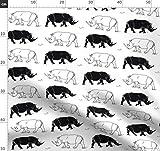 Nashorn, Schwarz Weiss, Tiere, Schwarz Und Weiß Stoffe -