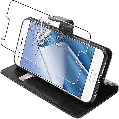 ebestStar - Asus Zenfone 4 Hülle ZE554KL Kunstleder Wallet Case Handyhülle [PU Leder], Kartenfächern Standfunktion, Schwarz + Panzerglas Schutzfolie [Phone: 155.4 x 75.2 x 7.7mm, 5.5'']