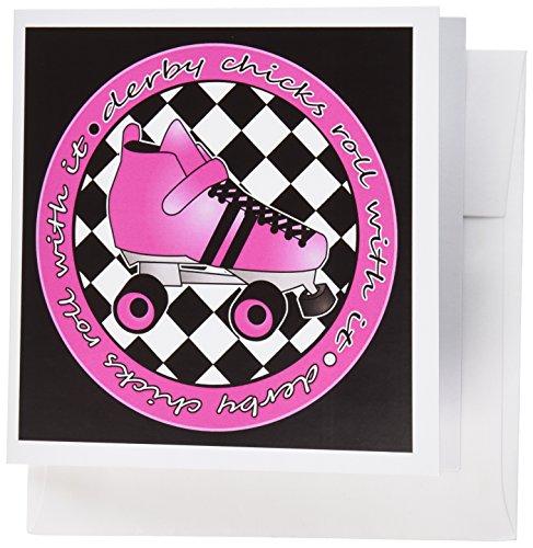 3dRose Gc_28519_1 Grußkarten, Motiv Derby Chicks Roll With It Hot Pink Rollschuh, 15,2 x 15,2 cm, 6 Stück - Pink Einladungen Hot Geburtstag