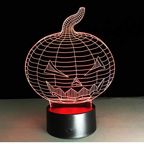 Schlummerleuchten Halloween Kürbis Schädel 3D Usb Led Nachtlicht 7 Farben Ändernde Stimmung Lampe Touch Button Kinder Schlafzimmer Lampe Berührungsschalter
