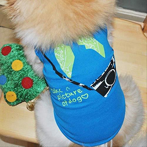 FDCLD Karikatur-Kostüm-Kleidung Für Kleine Haustiere Chihuahua-Mops-Haustier-Hund Kleidet Weiche Baumwollwelpen-Hemden-T-Shirt Katzen-Hundeweste S Himmelblau (Mops-kostüme Für Menschen)