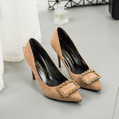 Dimaol Femmes Chaussures Pu Printemps Automne Talons Confort Stiletto Talon Pour L'extérieur Kaki Noir Kaki