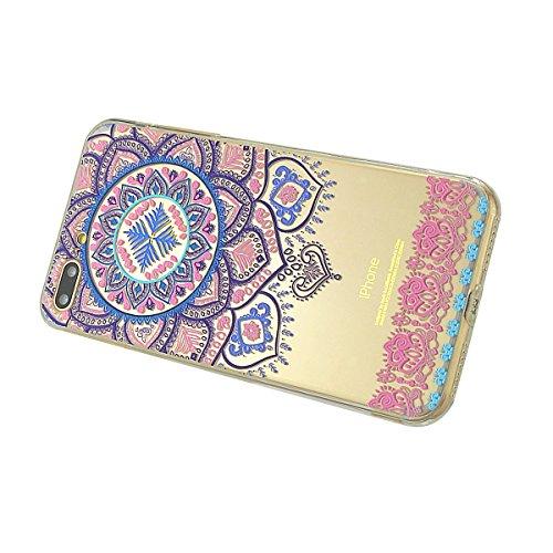 iPhone 8 Plus Hülle, Fraelc iPhone 7 Plus Weich Silikon Rahmen Handyhülle Transparent Schlank Schutzhülle Crystal Clear TPU Bumper Case für Apple iPhone 7 Plus / iPhone 8 Plus (5,5 Zoll) mit Blau Rosa Blau Henna