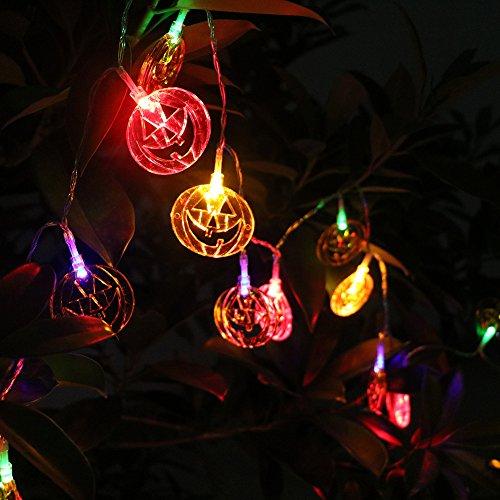 K-Bright 20er LED Halloween Kürbis,2 Meter mit 2 beleuchtungsmodelle,Kürbis Lichterkette,LED lichterkette Innen- und Außen Deko für den Garten Halloween Festival Partei (Led Blitzlicht Kürbis)