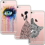 blossom01 [3 Stück] iPhone 6 Plus Hülle, iPhone 6S Plus Hülle, Cute Funny Kreative Cartoon Transparent Silikon Bumper für iPhone 6 Plus / 6S Plus - Eye & Butterfly Mädchen & Katze