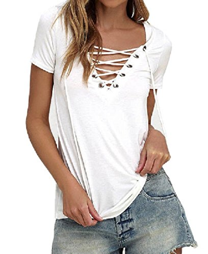 YousonGirl women girl sexy V neck bandage lace up blouse casual summer plain stretch top shirt (black and white) (M, WHITE)