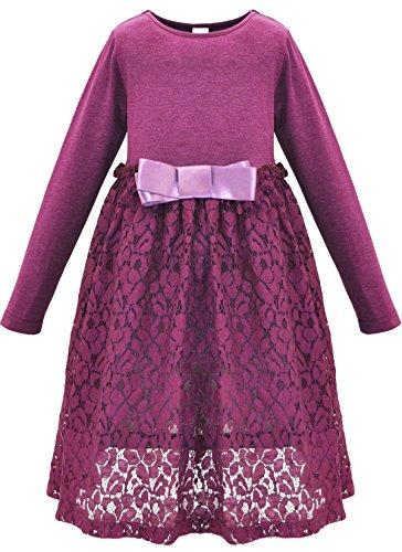 Bonny BillyMädchen Kleid beiläufige Satin Spitze mit Bogen 140 Lila Childrens Place Jeans