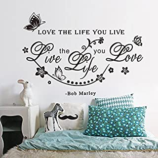 ASENART Love The Life You Live Bob Marley Quote and Flower Vine Butterfly Wall Stickers Home Decor Size 18