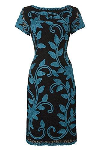 Roman Originals Women's Embroidered Floral Lace Dress Emerald UK Size 10-20