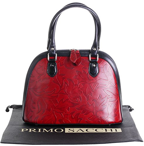 Cuoio italiano foglia Design goffrato Bowling stile manico mano borsa Shoulderbag.Include una custodia protettiva marca Rosso nero