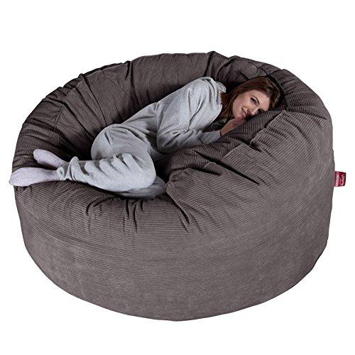 Lounge Pug®, Riesen Sitzsack Sofa C1000-L, CloudSac Latexflocken-Mischung, Schlafsofa, Nadelstreifencord Schiefergrau