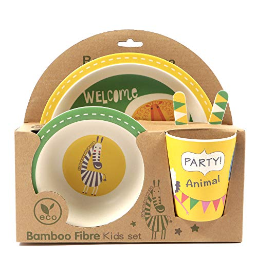ORNAMI 5-teiliges Bambus-Geschirrset für Kinder, Tierparty Design - Kinder-Geschirrset mit Bambusteller, Kleinkindbesteck, Bambusschale und Kinderbecher - umweltfreundlich und BPA-frei