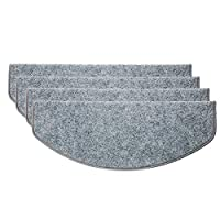 KingSaid 15 Pcs Adhesive Carpet Stair Treads Mats Pad Non-slip Step Protection Rug Cover - 24cm x 65cm Gray