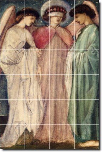 EDWARD BURNE-JONES ANGELES BACKSPLASH AZULEJO MURAL 30  32X 48CM CON (24) 8X 8AZULEJOS DE CERAMICA