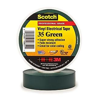 3M 80611211576 35 Scotch Elektro Isolierband, Vinyl, 19 mm x 20 m, Grün